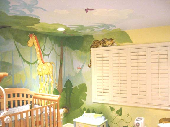 Children 39 s murals and room designschildren 39 s murals and for Baby jungle safari wall mural